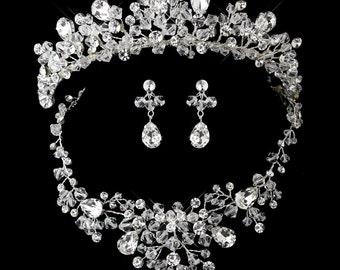 Tiara Bridal SET  Swarovski Crystal, Rhinestones & White  Pearls Necklace, Earrings Silver Plate