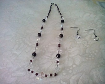 Faceted Garnets Vintage Aurora Borealis Czech Beads 316L Stainless Steel Necklace Earrings Set