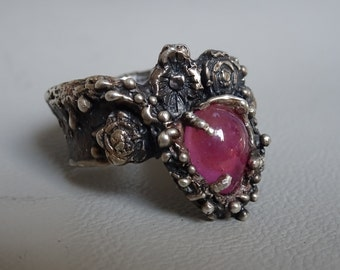 Unique 925 silver ring with a gem stone Ruby - Handgemaakt - Lost wax casting - 925 sterling zilver - Statementring - gift for woman