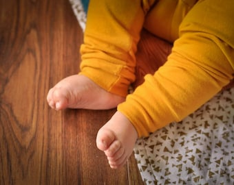 Mustard yellow leggings. Yoga waistband. Sizes newborn to 24 months.