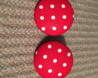 red and white polka dot fabric button earrings