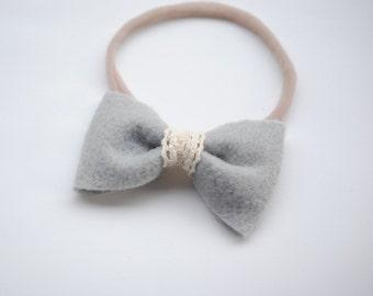 Vintage lace felt bow