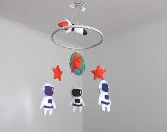 Space Mobile, Felt Outer Space Crib Mobile, Planets Mobile, Astronauts Spaceman, Space baby boy mobile