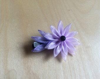 Violet lucency kanzashi barrette