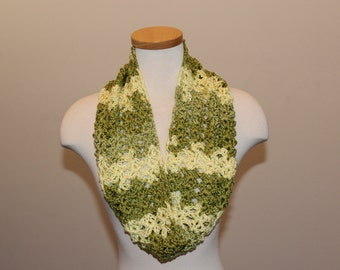 Crochet Green and Yellow Scarf, Green and Yellow Infinity Scarf, Soft and Shiny Green Scarf, Green Well-Being Scarf