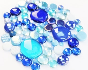 200g Round Mix of Glass Pebbles & Mosaic Tiles - Blue