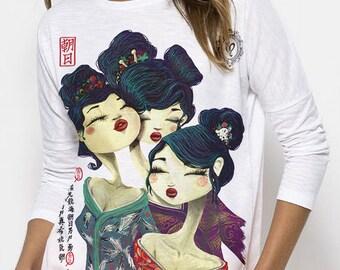 Geisha love ML. T-shirt Green. Organic cotton.