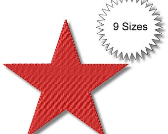 Stars- 9 Sizes - Machine Embroidery  Design - Instant Download - Filled