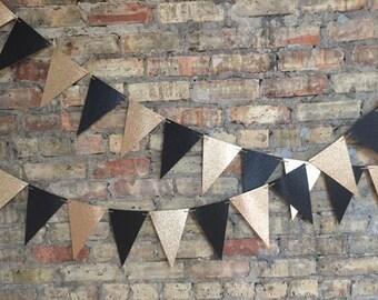 Black & Gold Glitter Bunting Banner, Glitter Banner, Photo Backdrop, Bachelorette, NYE, Custom