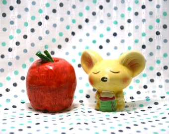 FREE Mouse and Apple Hand Paint Figurine set of 2
