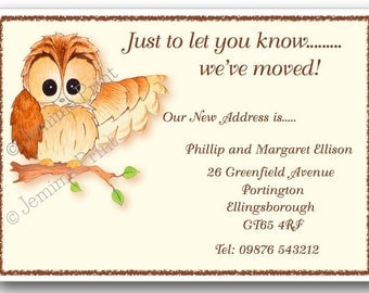 Printed Personalised change of address new home moving house cards owl x10 with envelopes