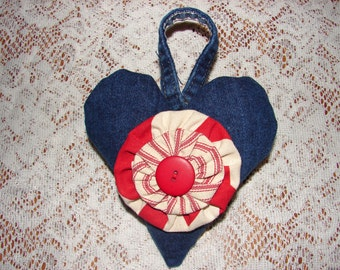 Upcycled Stuffed Denim Heart With Red and Cream YoYo Flower Accent