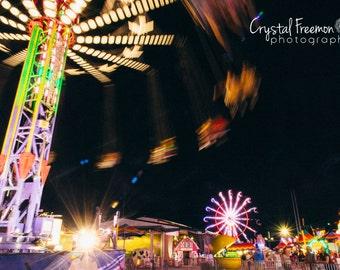 Nighttime Carnival or County Fair Landscape Photography, Wall Art, Carnival Print, Ferris Wheel & Swings, Decor