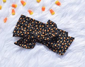 Candy Corn head wrap, Halloween bow, Baby bow, newborn headwrap, halloween, big baby bow, turban wrap, fall headwrap