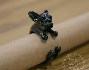 Black French Bulldog Adjustable Ring. Frenchie Ring. Costume Jewellery. 10% donated to animal charities.