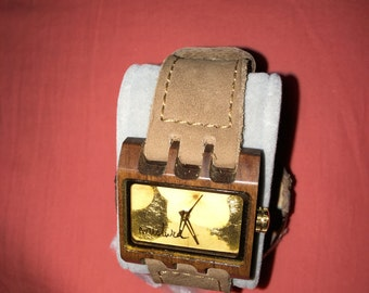 Wooden watch leather strap hand made watches