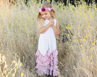 Girls Gorgeous White Maxi Dress With Dusty Rose Ruffle Trim
