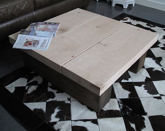 "Square Two Tone 3 Board Solid Oak Coffee Table. Two Colour Oak Low Coffee Table. 71 x 71 x 30cm (28"" x 28"" x 12"")"