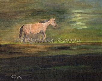"Blank Greeting Card – ""Spirit"" - Horse - From Original Acrylic Painting - 5x7 - Horizontal"