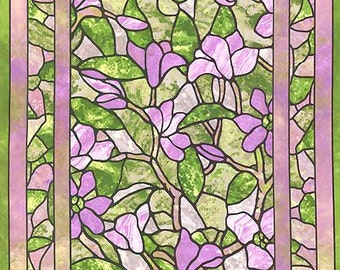 "Magnolia stained glass cotton fabric Panel in Green and Purple, by Sunshine Cottage -  24""x44"""