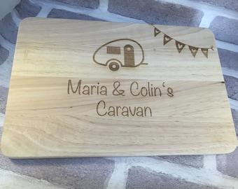 Caravan chopping board caravan personalised wood engraved gift holiday home