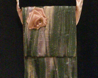 Purple, Gold, and Grey Messenger Bag with Pink Ribbon Rose and Strap
