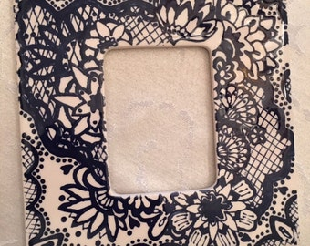 "7"" Navy Lace Ceramic Photo Frame"