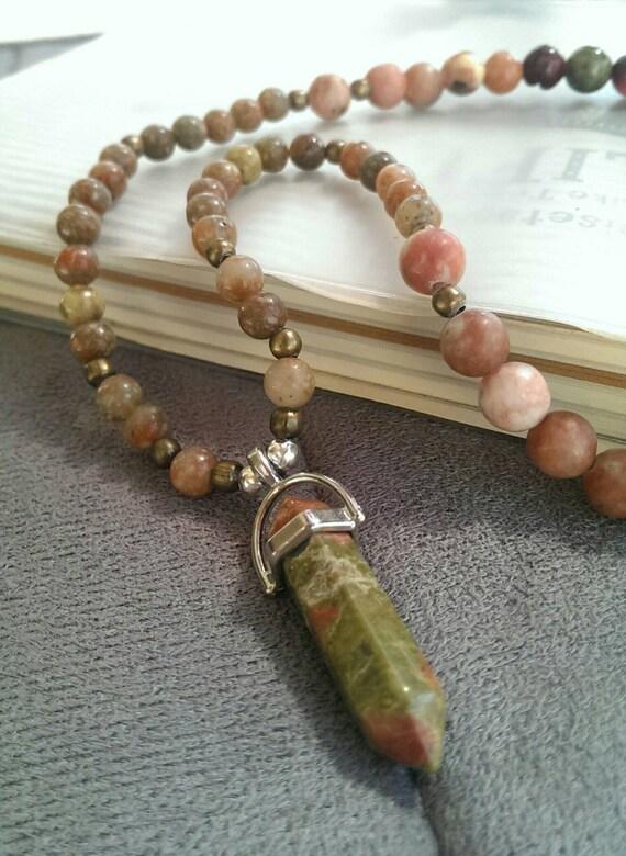 Epidote, Natural Jasper, Agate, Jade with Unakite Pendant Semi-Precious Stones Handmade Stretchy Necklace