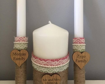Personalised unity candle set, wedding candles, vintage candles, custom made candles