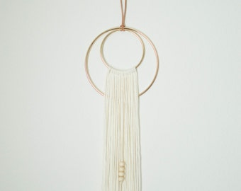 Small Cream Cotton Fiber Wall Hanging Gold Hoop Weave Yarn Wall Hanging