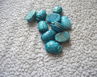10 EGYPTIAN SCARAB BEETLE Blue Beads