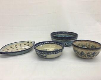 Polish Ceramic Dishes Set of 4