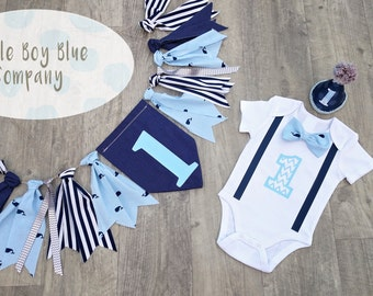 "The ""Blue Whale"" Baby Boy First Birthday Outfit, Birthday Bowtie Bodysuit, Whale Print, Cake smash, 1st Birthday,1st Birthday Boy, whale"