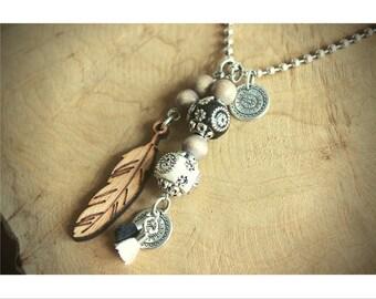 Necklace bohemian black/white