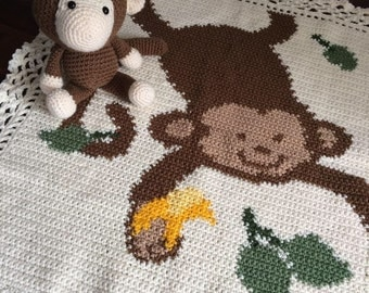 Chunky monkey picture blanket and stuffy