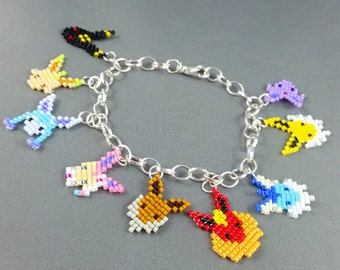 Pokemon Charm Bracelet - Pixel Bracelet Eevee Bracelet Eeveelutions Bracelet Geeky Bracele Geeky Gifts Video Game Jewelry Made to Order