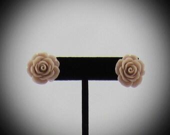Large Flesh Rose Resin Earrings
