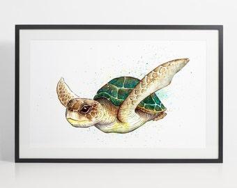 Watercolor Turtle Painting Print - turtle art, animal watercolor, animal illustration, turtle illustration, turtle poster, art print
