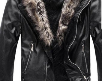 Men's Soft Lamb Leather Jacket with removable Fox fur trimming.