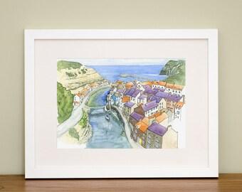 Staithes, Roxby beck - North Yorkshire - Coastal Art - Landscape Art - Coastal Art Gift - British Seaside Art - Watercolor Print