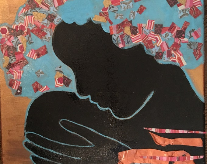 """Original framed mixed media painting """"Calm"""" by Anya Getter"""