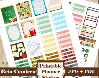 Back to School Planner Stickers Kit – Printable Planner Sticker School Erin Condren Planner Sticker Student Monthly Weekly Sticker DOWNLOAD