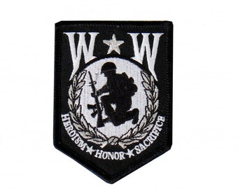 "Wounded Warrior, Ww Heroism, Honor, Sacrifice - High Quality Iron-on / Saw-on Rayon PATCH - 2"" X 3"""