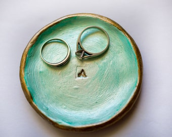 Letter A ring dish; small clay ring dish; initial ring dish; circle ring dish