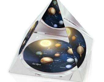 "Solar System 1 Galaxy Illustration Art Gift 3.25"" Crystal Pyramid Paperweight"