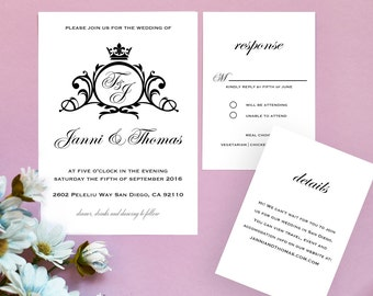Wedding Invitation Template, Printable Wedding Invitations, Wedding Invitation Set, Save the date #16