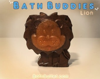 BATH BUDDIES Brave Lion!! This little buddy is no light weight. He weighs 4oz of pure 100% Detergent free soap base.