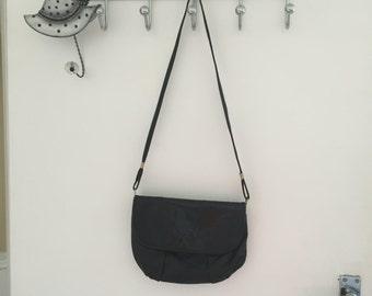 Black mixed soft leather vintage bag