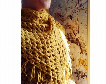 Shawl wrap scarf with fringed pattern mustard boho chic