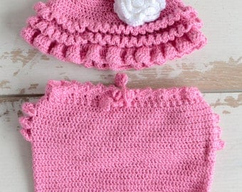 Newborn Girl Set; Newborn knit set; Newborn hat, shorts Prop; Newborn Outfit Prop; Newborn Prop; Photography Prop